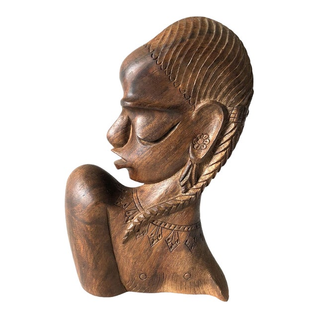 Carved Wooden African Female Bust For Sale