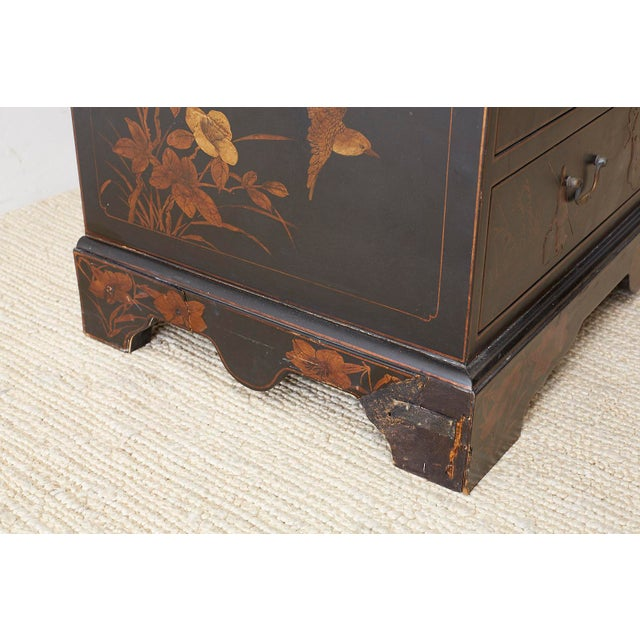 Black English Chinoiserie Style Lacquered Parcel-Gilt Secretary For Sale - Image 8 of 12