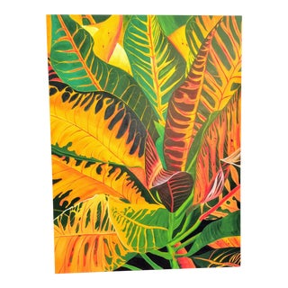 Vintage Tropical Croton Leaf Tree Oil Painting For Sale