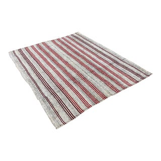 Red Stripe Pattern Turkish Vintage Rug - 6′3″ × 7′3″ For Sale