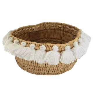 Moroccan White Tassel Small Basket For Sale