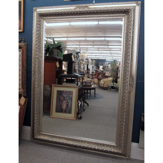 """89"""" High Silver Gilded Beveled Glass Floor Mirror For Sale - Image 9 of 12"""