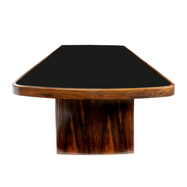 Wood Soft-Edged Rectangular Dining Table in Rosewood With Black Underpainted Glass Top and Curved Legs For Sale - Image 7 of 9