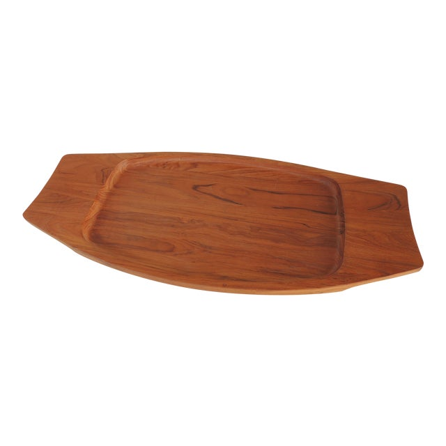 1980s Boho Chic Dansk Solid Teak Tray For Sale