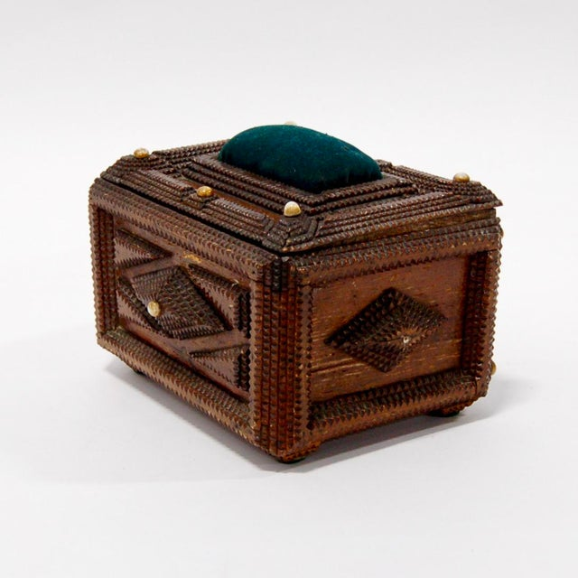 Antique French Tramp Art Sewing Box with Raised Velvet Green Pin Cushion For Sale - Image 10 of 10