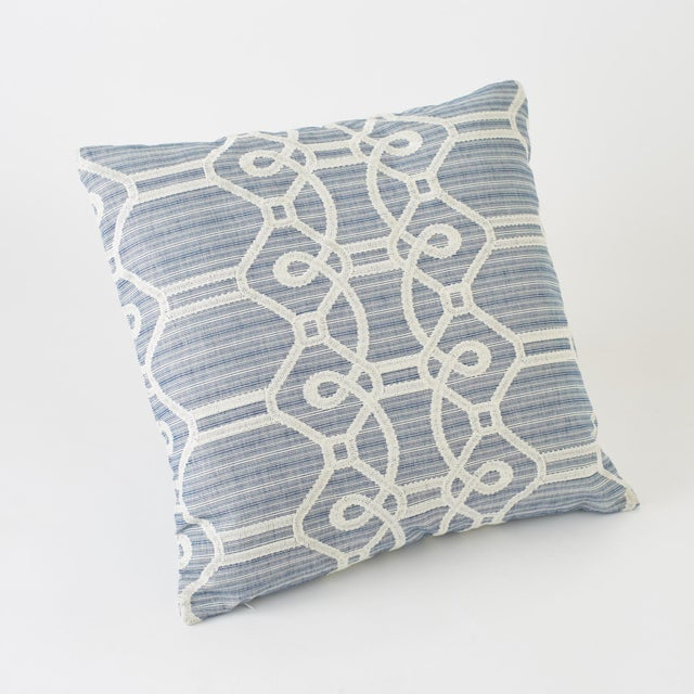 Contemporary Schumacher Ziz Embroidery Blue Square Pillow 26x26 For Sale - Image 3 of 6