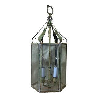 Vintage Six Sided Brass Hanging Lantern For Sale