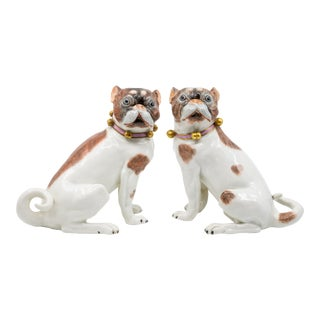 Mid 20th Century Dresden Porcelain Large Pug Dogs - A Pair For Sale
