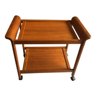 1970s Vintage Mid-Century Modern Two-Tier Bar Cart For Sale