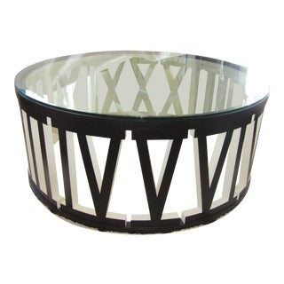 Contemporary Roman Numeral Framed Round Glass Topped Table