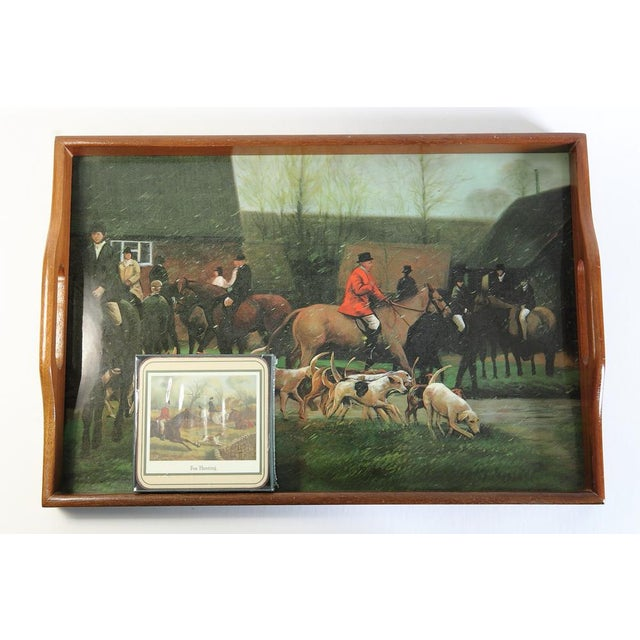 Fox Hunting Equestrian Coasters and Tray Set For Sale - Image 9 of 9