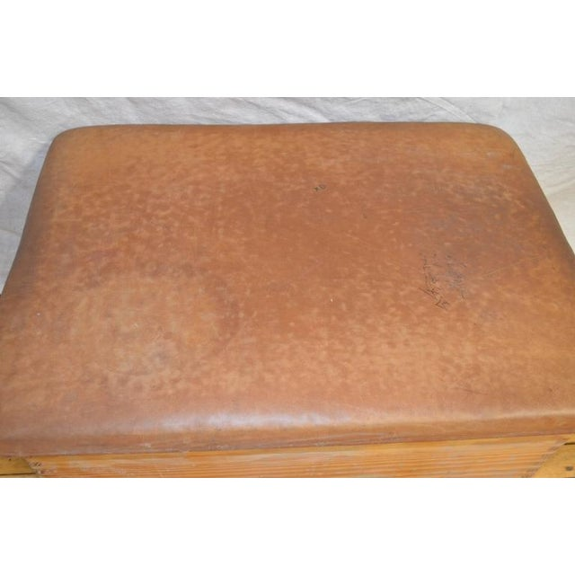 Rustic Vintage German Gymnast Leather Top Bench For Sale - Image 3 of 9