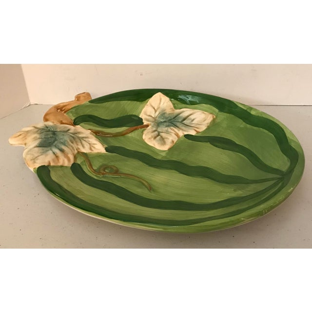 Vintage Boho Chic Style Ceramic Watermelon Platter For Sale - Image 4 of 6