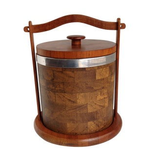 Ice Bucket With Teak Lid and Holder For Sale