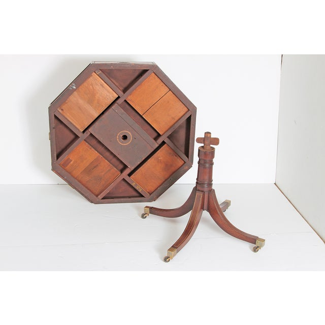 English Regency Drum Table With Campaign-Style Hardware / Filttings For Sale - Image 11 of 12