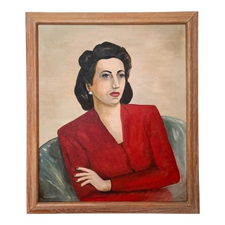 1940s Vintage Win Kruse Portrait of a Woman Framed Painting For Sale