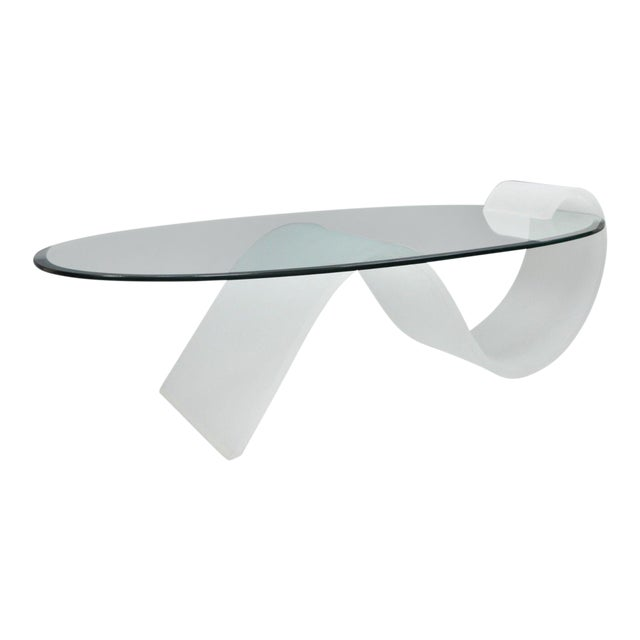 123c5bf451f0 1970s Mid-Century Modern Lucite and Oval Glass S-Shaped Cantilever Coffee  Table For