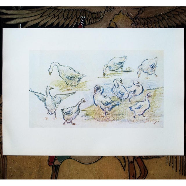 Cottage Cottage Style Hungarian Geese Lithograph by Alfred Sisley, 1959 For Sale - Image 3 of 11