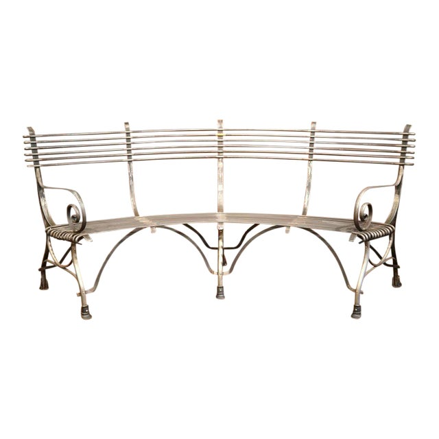 French Polished Iron Hoof Foot Curved Bench Signed Sauveur Arras For Sale
