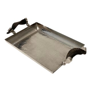 Vintage Serving Tray Hammered Steel With Horn Handles For Sale