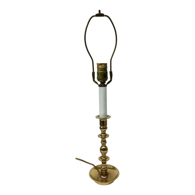 Vintage Baldwin Solid Brass Candlestick Table Lamp For Sale