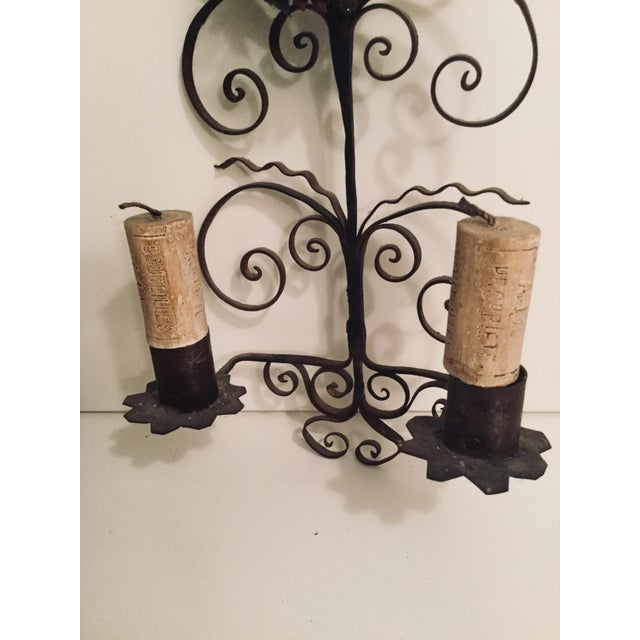 Folk Art Italian Metal Scroll Candle Sconces - A Pair For Sale - Image 3 of 8