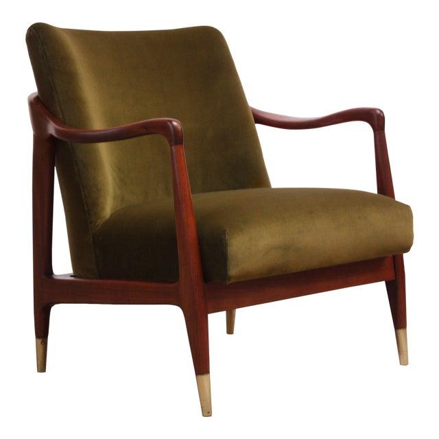 Mid-Century Italian Modern Sculpted Walnut and Velvet Lounge Chair For Sale
