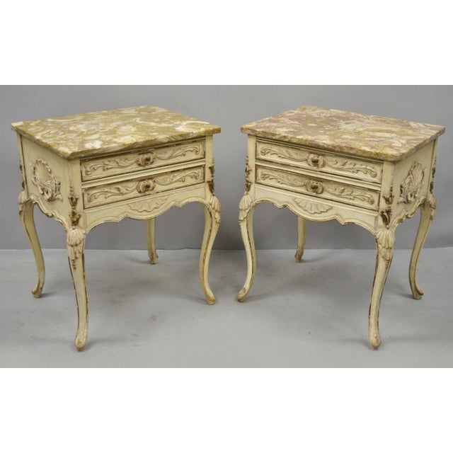 1950s French Louis XV Marble Top Nightstands - a Pair For Sale - Image 11 of 11
