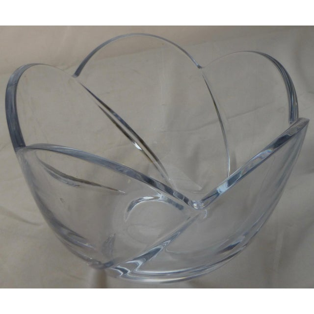 Modern Mid-Century Lead Crystal Organic Glass Bowl For Sale - Image 3 of 10