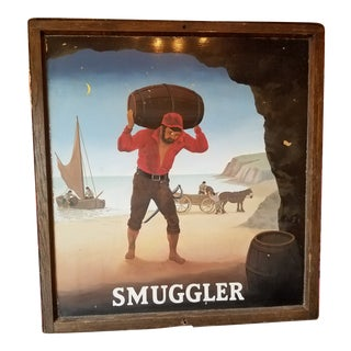 "Original UK Pub Sign - ""Smuggler"" - Hand Painted - Double Sided - Metal Sign with Wood Frame For Sale"