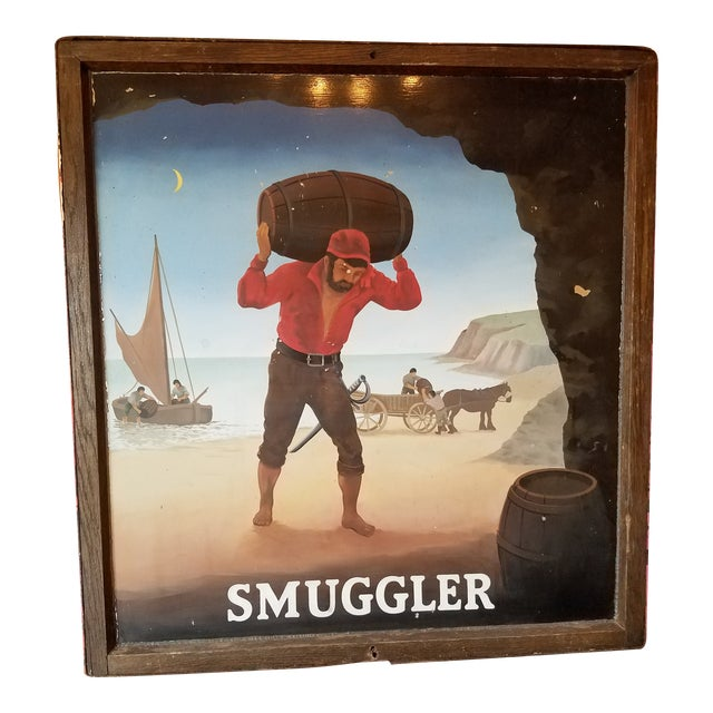 """Original UK Pub Sign - """"Smuggler"""" - Hand Painted - Double Sided - Metal Sign with Wood Frame For Sale"""