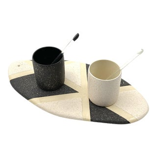 Mono Tray and Espresso Cup Set - Set of 5 For Sale