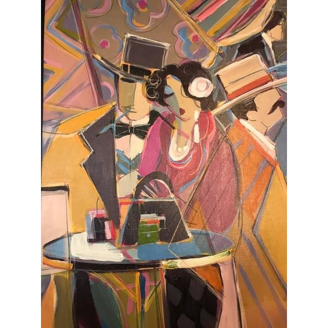 """Figurative Original Isaac Maimon Signed """"Sharing Great Times"""" For Sale - Image 3 of 10"""