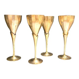 Art Deco Brass Calla Lily Goblets - Set of 4 For Sale