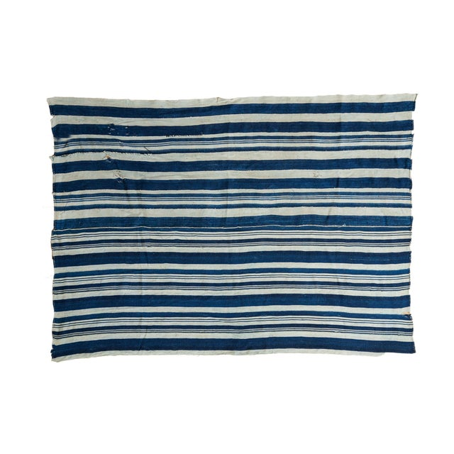 Vintage Hand Woven Indigo Stripe Throw For Sale