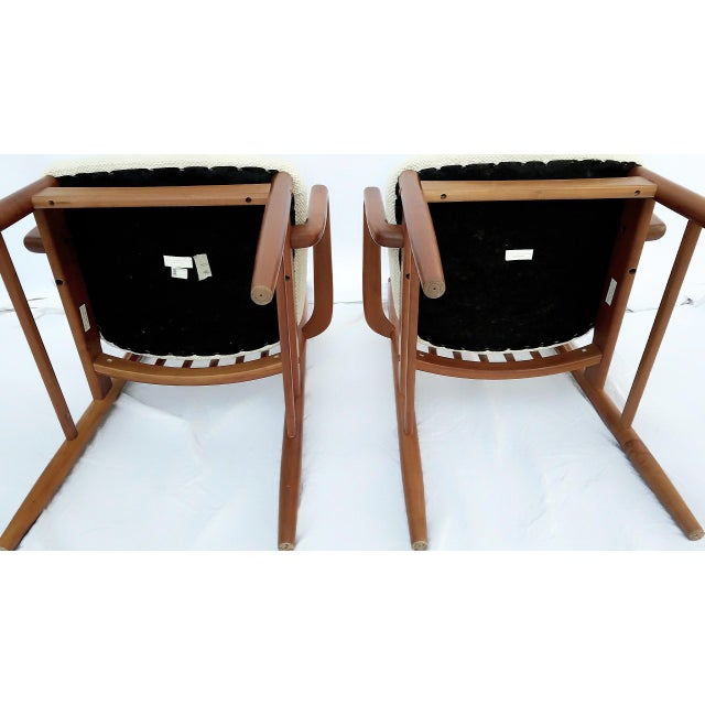 Brown 1960s Danish Modern Benny Linden Walnut Arm Chairs - a Pair For Sale - Image 8 of 11