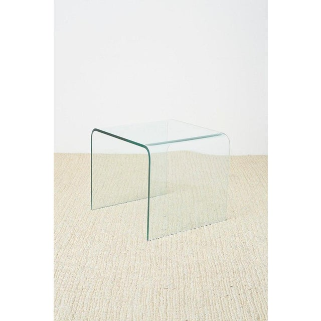 Pair of Angelo Cortesi Glass Waterfall Nesting Drink Tables For Sale - Image 10 of 13