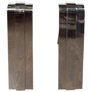 Pair of Modernist Curved Deco Inspired Nickel Andirons For Sale