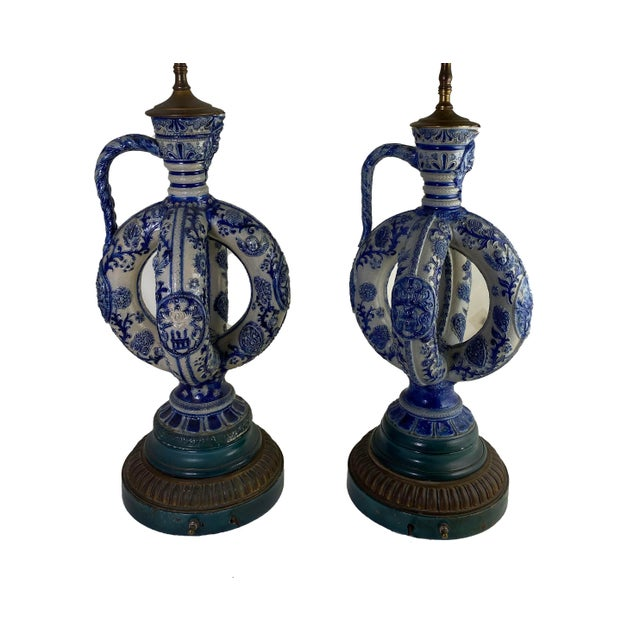 Blue Cobalt Blue Salt Glazed German Double Ring Flask as Lamps - a Pair For Sale - Image 8 of 9