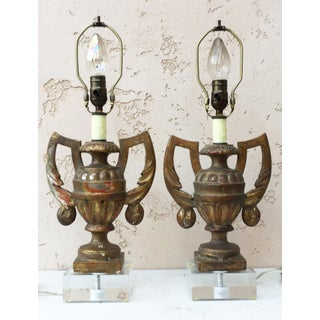 Gilded Wood Urns Shaped Lamps Circa 1890 - a Pair Preview
