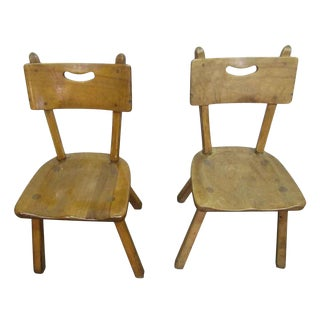Antique Country Rock Maple Chairs - a Pair For Sale