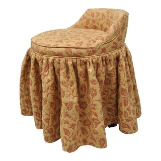 Vintage Upholstered Swivel Vanity Bedroom Chair For Sale