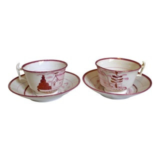 Copper and Pink Lusterware Cups & Saucers - a Pair (4 Pieces) For Sale