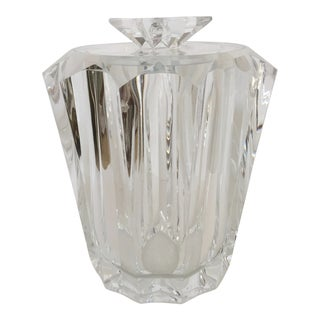 Monumental Thick Lucite Faceted Ice Bucket For Sale