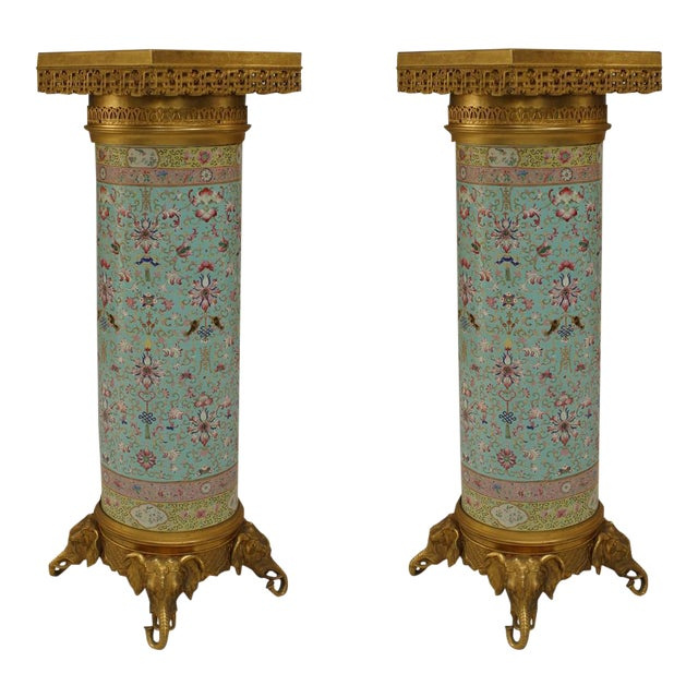 Pair of English Regency Style Turquoise Chinese Porcelain Pedestals For Sale