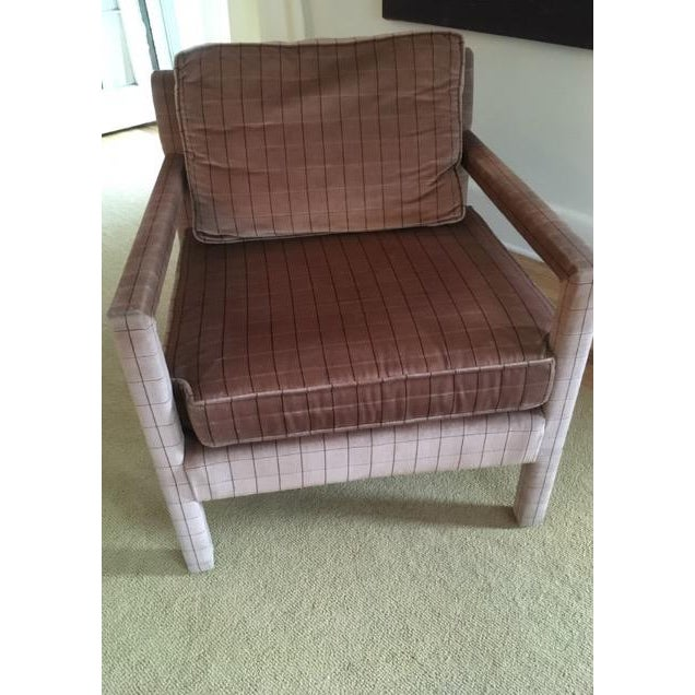 Purple 1970s Vintage Parsons Style Arm Chairs- A Pair For Sale - Image 8 of 13