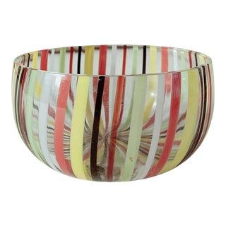 1960s Murano Venini Striped Glass Bowl For Sale