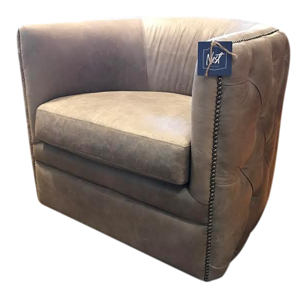 Charmant Bernhardt Sawyer Tufted Grey Leather Swivel Chair