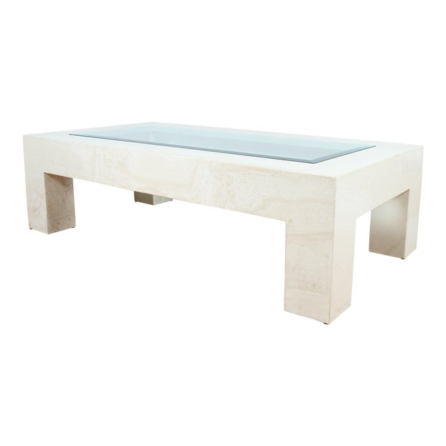 Mid Century Travertine Coffee Table For Sale