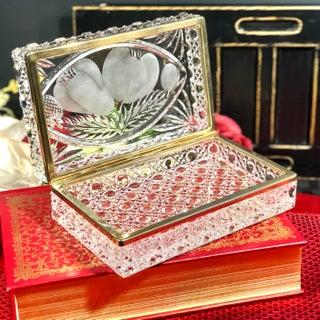 "Vintage ""Baccarat"" Crystal Trinket Box Brass Hinged Ormolu Jewelry Casket Preview"